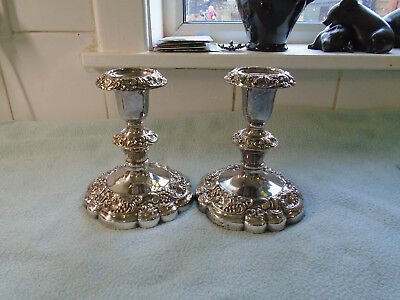 Antique Pair Of Silver Plate On Copper Candlesticks Maker S L Grape & Vine Leaf