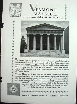 1930 VERMONT MARBLE Old Custom House Erie PA Ad/ VT Granite Guardian Memorial Ad