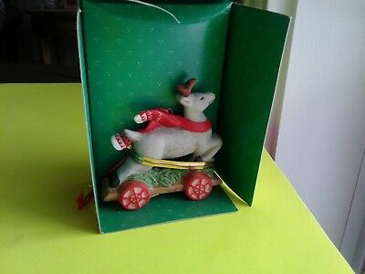 1992 Schmid Collectible Reindeer On 4 Wheel Cart Holiday Friends Ornament