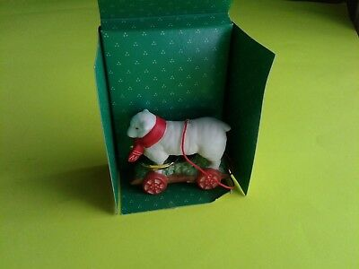 1992 Schmid Collectible Sheep On 4 Wheel Cart Holiday Friends Ornament