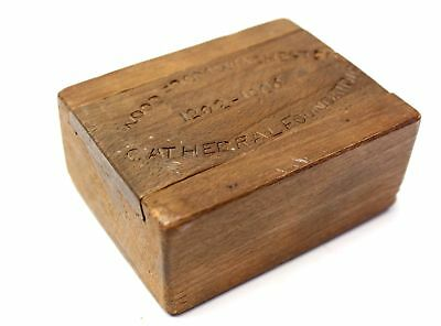 """Antique """"Wood From Winchester Cathedral Foundations"""" 1906 Trinket Box  - G13"""