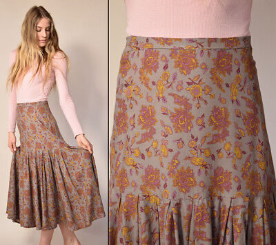 Vtg 80s muted tapestry print MADE IN FRANCE chic romantic PLEATED midi skirt S/M