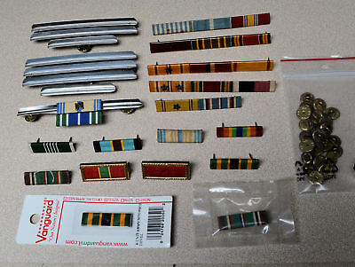 Lot of 19 Military Bars WWII to ? Campaign Pins, Ribbons