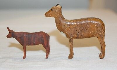 Miniature Wooden Cow & Deer. Late 1890s folk art hand-carved animals. USA