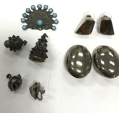 Vintage Sterling Silver Earring Lot with Coin Silver Pendants and real stones