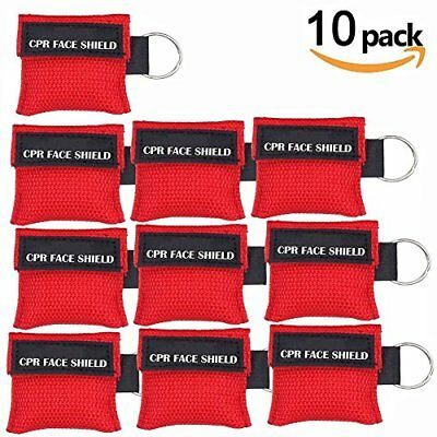 Pack Of 10pcs Cpr Mask Keychain Ring Emergency Kit Rescue Face Shields With One-