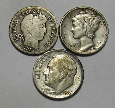 1915 1944 1955 D Barber / Mercury / Roosevelt Dime - Mixed Condition - 21SU-2