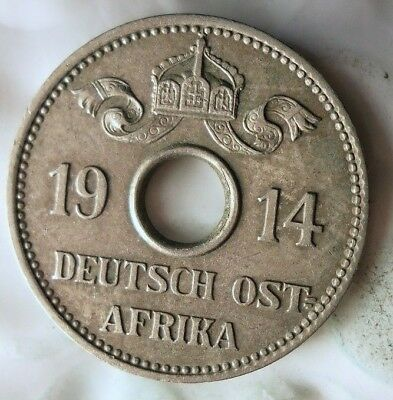 1914 J GERMAN EAST AFRICA 5 HELLER - AU/UNC - Rare Colonial Coin - Lot #A17