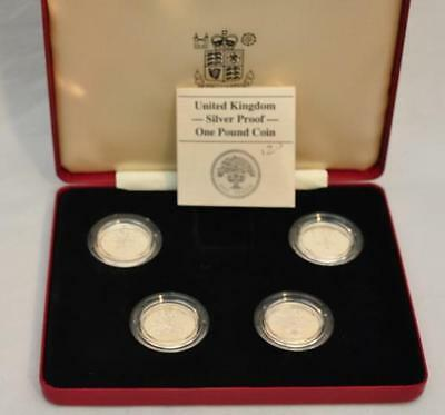 Royal Mint 1984-1987 £1 United Kingdom 4 Coin Silver Proof Set