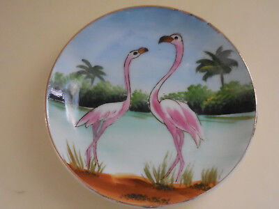 "Flamingo Birds -  Lefton China Hand Painted Porcelain Plate - 4"" Diameter"