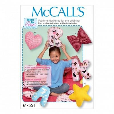 MCCALLS HOME Easy Sewing Pattern 7551 Star, Heart, Bow & Alphabet ...
