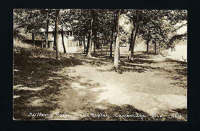 Cambridge Wisconsin WI c1939 RPPC Willerup Park, Lake Ripley, Cabins & Lakeshore