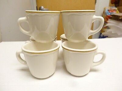 4 Vintage Homer Laughlin Restaurant Ware Cup Best China White with Gold Ring EXU