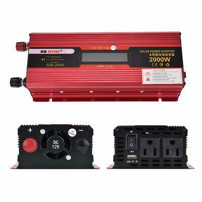 Portable 2000W Car LED Power Inverter Converter DC 12V To AC 110V USB Charger