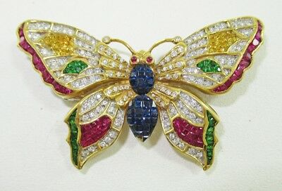 Genuine LeVian 18K YG Butterfly Diamonds Rubies Garnets Sapphires Pin / Brooch