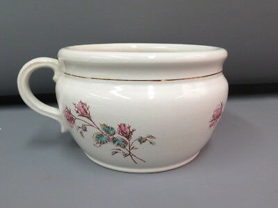 Antique Wick China Co Ceramic Chamber Pot Handle Floral Late 1800s-1900s RARE