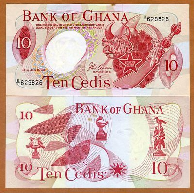 Ghana, 10 Cedis, 1969, P-12 (12b), Ch. UNC > scarce, with tone