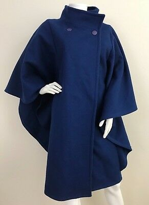 Vintage 60's Style Cobalt Blue Bat Wing Batwing Cape Coat Jacket