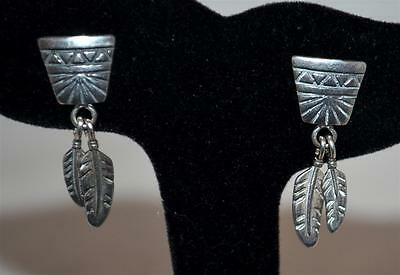 Vintage Sterling Southwestern Abstract Dangle Feather Earrings Signed STC Marsha