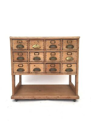Antique Early 20th Century Solid Pine Haberdashery Merchants Pigeonhole Chest