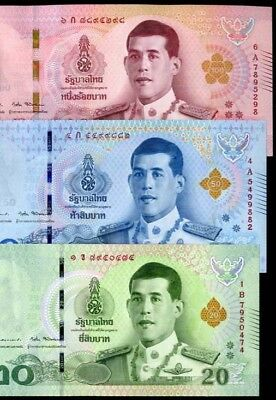 Thailand Set 3 Unc 20 50 100 Baht 2018 P New Design Nr