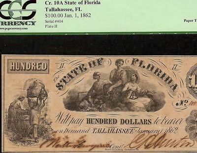 1862 $100 DOLLAR BILL STATE OF FLORIDA TALLAHASSEE NOTE PAPER MONEY Cr 10A PCGS