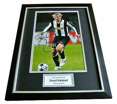 PAVEL NEDVED Signed Framed Photo AUTOGRAPH Juventus 16x12 Display & COA