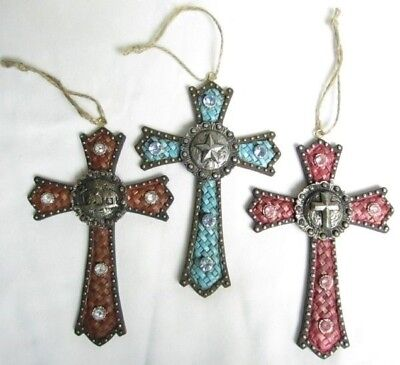 Western Crosses Christmas Ornament - Colored Basket Weave - Set of 3 (1050)