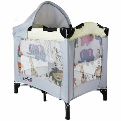 iSafe Mini Travel Cot With Bassinet  - Smiley And Cuddly + Mattress