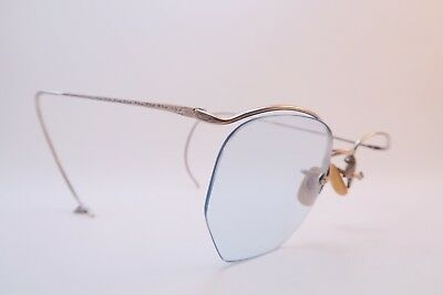 Vintage 30s white gold filled eyeglasses frames American Optical coil arms USA