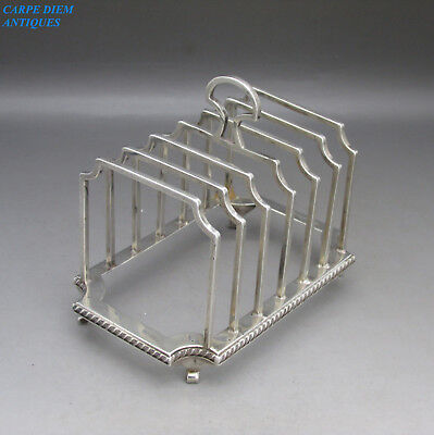 VINTAGE GOOD STYLISH SOLID STERLING SILVER 7-BAR TOAST RACK, 170g, BIRM 1927