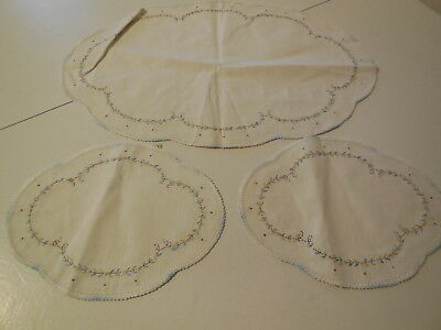Vintage Three Piece Embroidery Centerpiece Runner, Two Smaller Matching