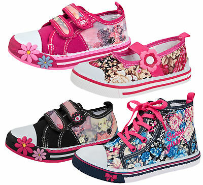 Girls Canvas Pumps Floral Sequin Summer Trainers High Top Shoes Hi Tops  Size