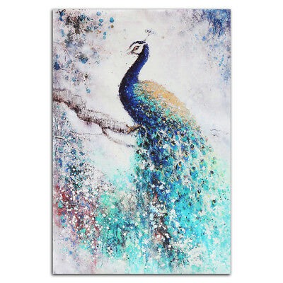 Canvas HD Print Wall Animal Peacock Painting Picture Home Decor Craft Unframed