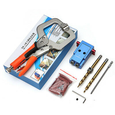 Pocket Hole Drilling Jig  + Step Bit Woodworking Joinery Tool Slant-hole System