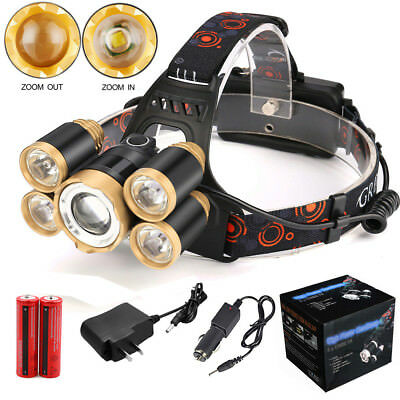 Zoom 80000 LM 5X XML T6 LED Headlamp 2X18650 Headlight Flashlight Torch Sets