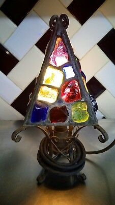 arts & crafts vintage Peter Marsh ROCK GLASS TABLE LAMP OR PORCH