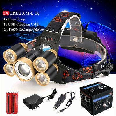 Zoom 80000 LM 5X XML T6 LED Headlamp Headlight Flashlight Torch 2X18650 Charger