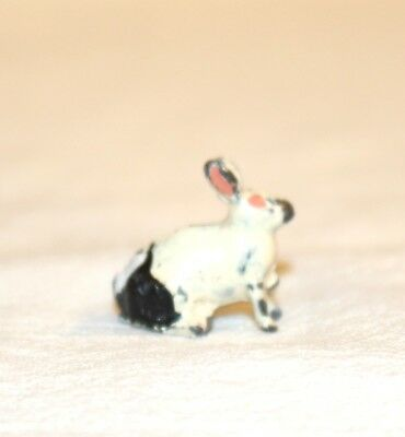 2nd Miniature Lead black & White Rabbit.  1920s. W. Britain of United Kingdom.
