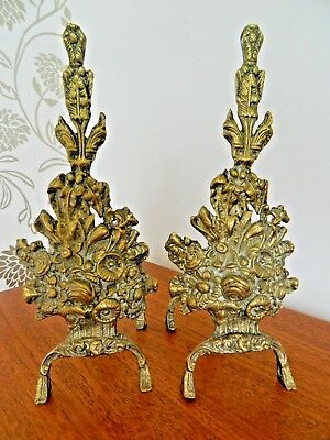 Lovely Vintage Pair of Very Decorative Brass Fire Dogs  Nice Condition