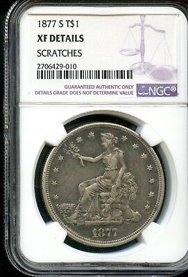 Spectacular 1877-S NGC XF Details United States Trade Dollar $1 Coin FB294