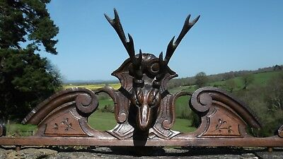 SUPERB 19thc GOTHIC OAK CARVED PEDIMENT WITH STAG HEAD CARVED CENTRALLY