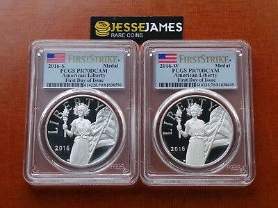 2016 W & S Proof Silver Liberty Medal Pcgs Pr70 Dcam Flag First Day Of Issue Fdi