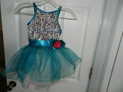 Dancewear Leotard Tutu Dress Girls Size Small  blue/White  Costume
