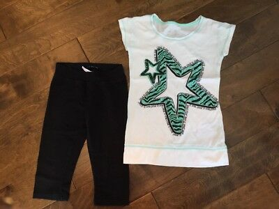"VGUC Justice Mint Sparkling Star ""Choose To Shine"" Top Black Capri Legging 8"