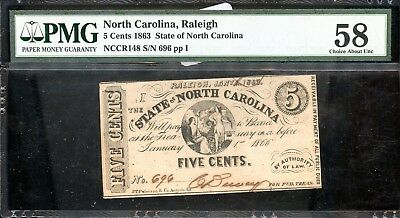 1863 PMG 58 Choice About Unc. North Carolina 5C Fractional Currency Note FB304