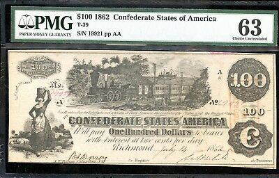 1862 PMG 63 Choice Uncirculated $100 Confederate States of America Note FB306