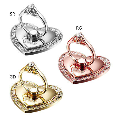 1Pc Crystal Love Heart Metal 360° Rotating Finger Ring Grip Stand For Cell Phone
