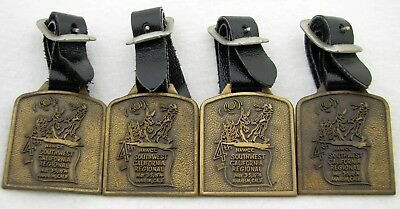 Lot Of 4 Vintage 1974 Nawcc Pocket Watch Advertising Chain Fobs