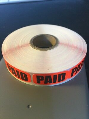 Paid Fl Red   LABELS 1000 PER ROLL GREAT STICKERS